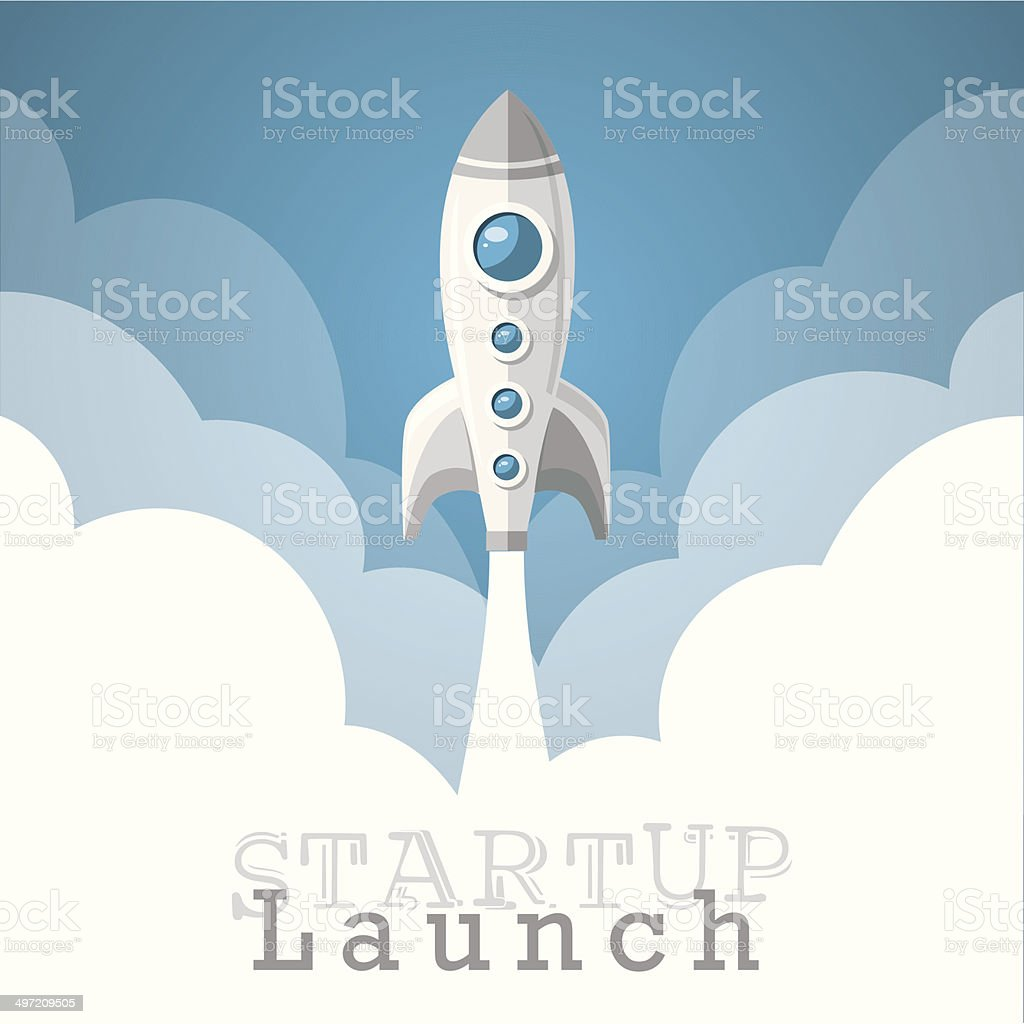 rocket startup project launch wallpaper vector illustration vector art illustration