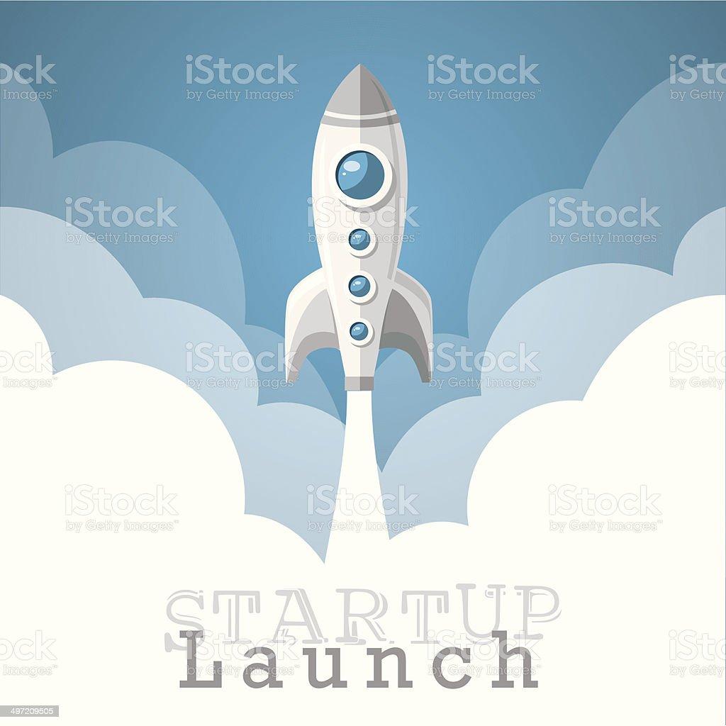 rocket startup project launch wallpaper vector illustration vector art illustration