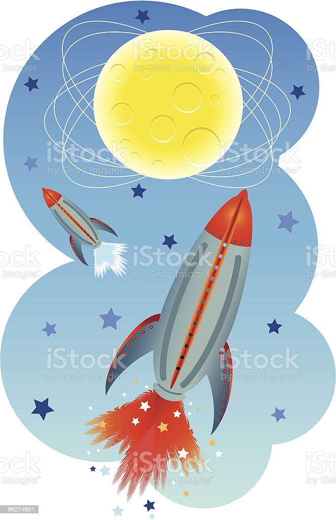 rocket to outer space royalty-free stock vector art