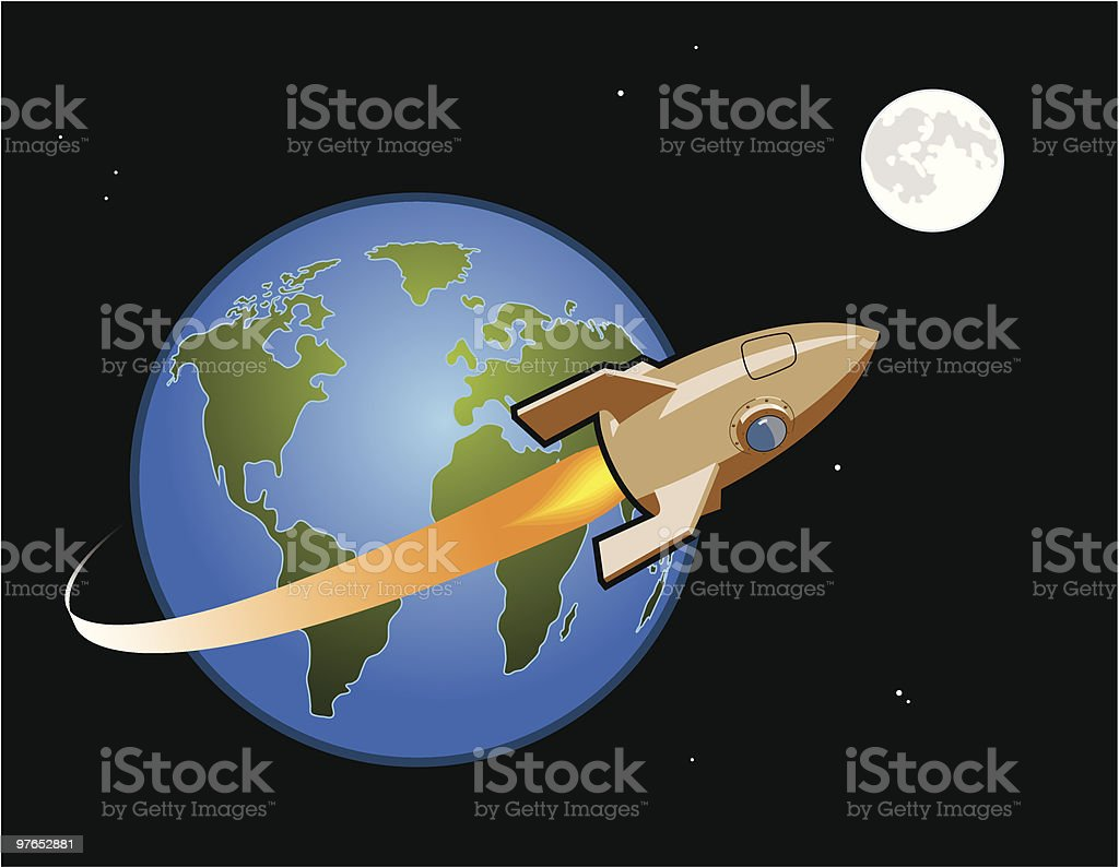 Rocket to the Moon vector art illustration