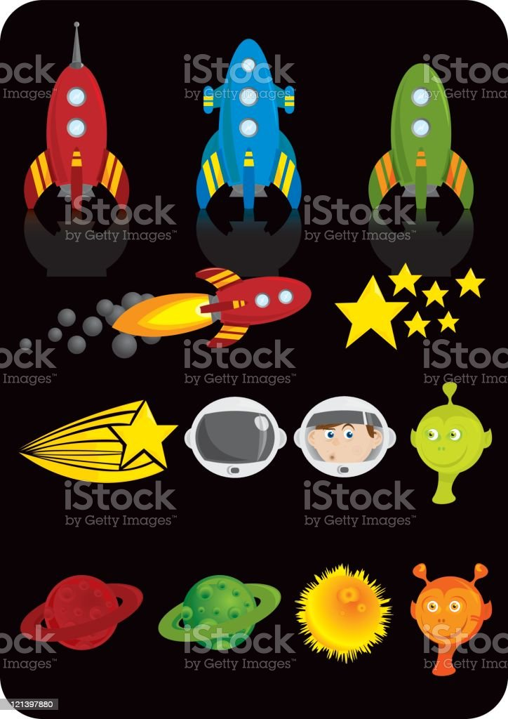 Rockets and aliens royalty-free stock vector art