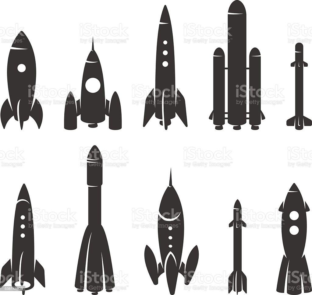 Rockets collection set. Vector vector art illustration