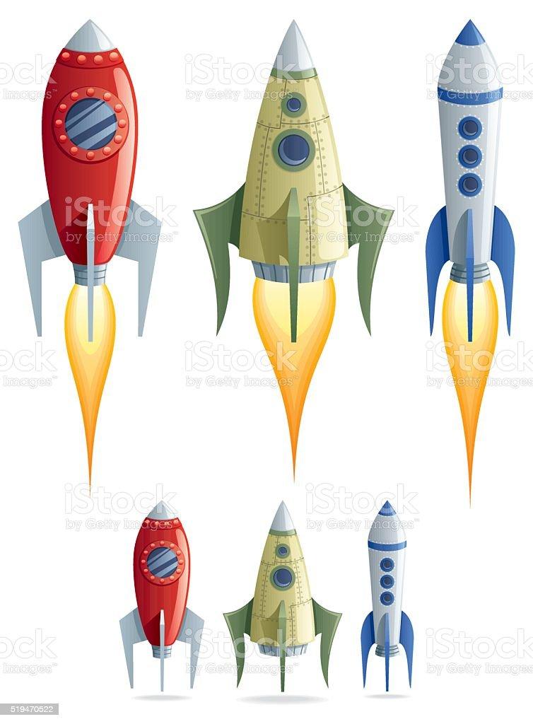 Rockets vector art illustration
