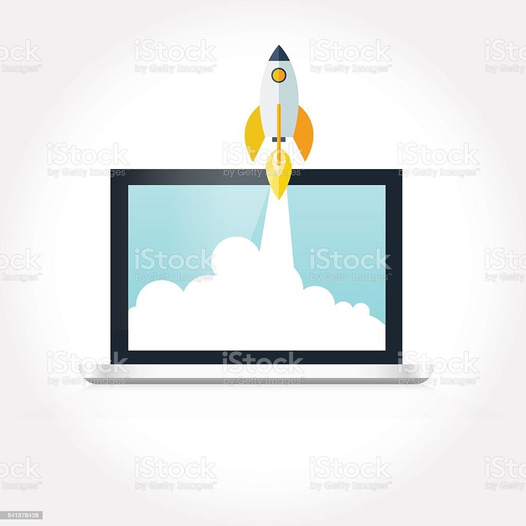 Rocketship on computer for startup media. vector art illustration
