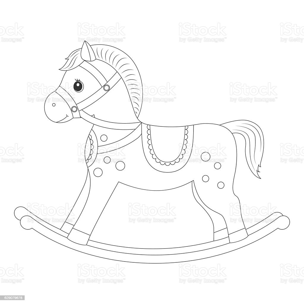 Rocking horse for coloring book vector art illustration