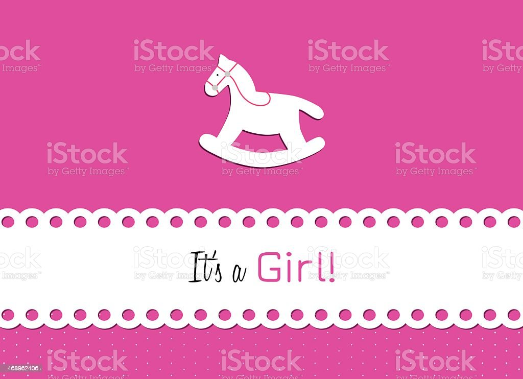 rocking horse to announce the birth of a little woman vector art illustration