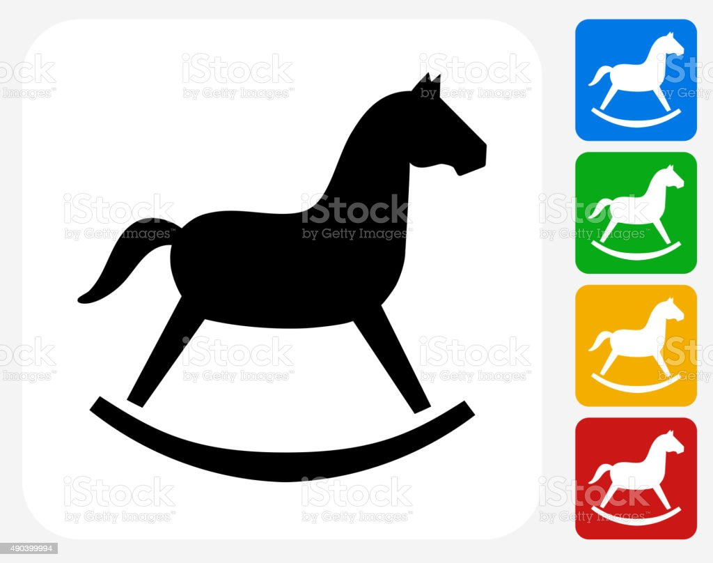 Rocking Horse Toy Icon Flat Graphic Design vector art illustration