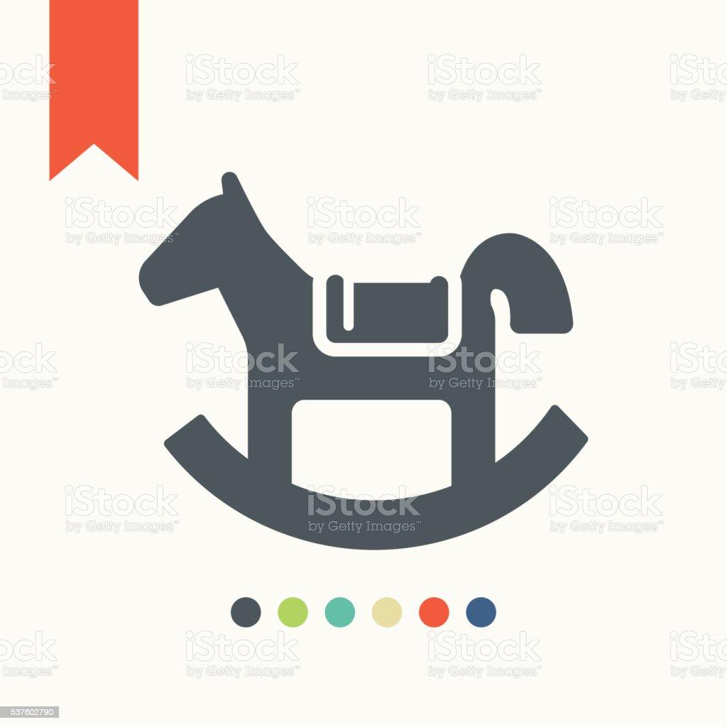 Rocking horse toy icon vector art illustration