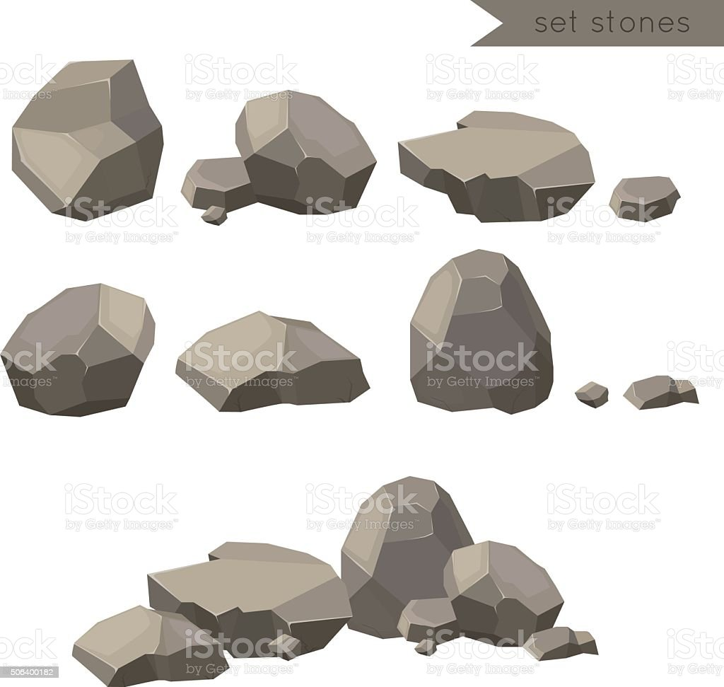 Rocks and stones single or piled for damage and rubble vector art illustration