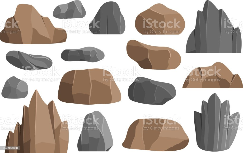 Rocks and stones vector icons building mineral pile vector illustration geology mountains vector art illustration