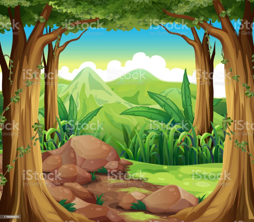 Rocks at the forest royalty-free stock vector art