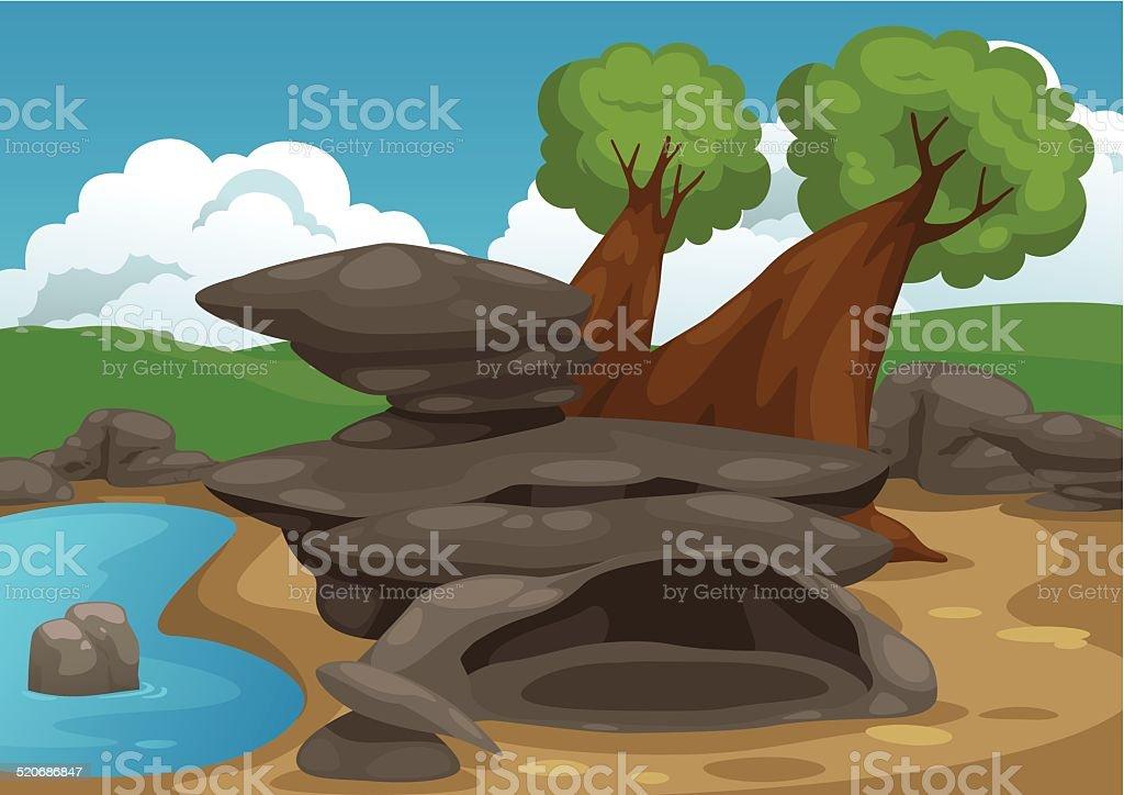 rocks with pond scene vector vector art illustration