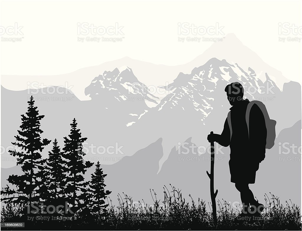 Rocky Mountain Hiker Vector Silhouette royalty-free stock vector art