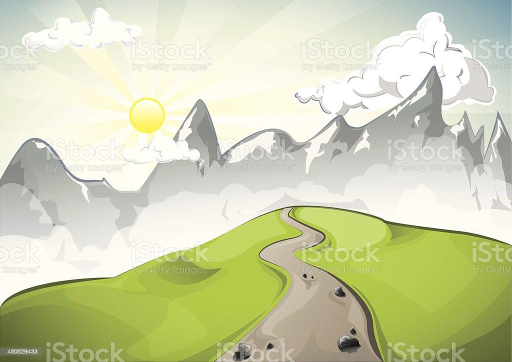 Rocky mountain sunset royalty-free stock vector art
