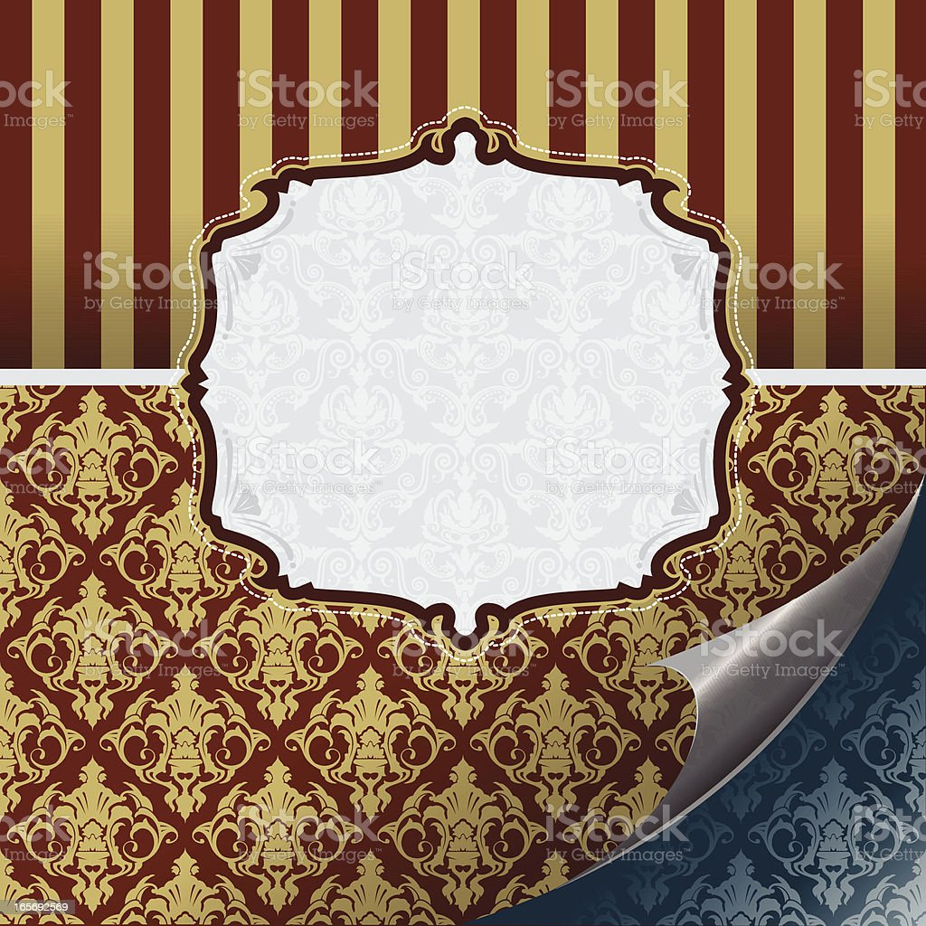rococo style wallpaper with banner royalty-free stock vector art