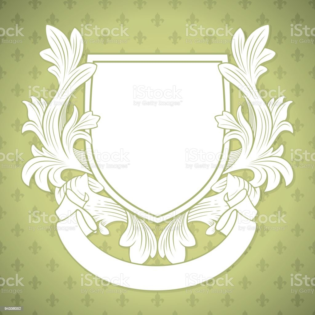 Rococo-style shield and wallpaper royalty-free stock vector art