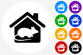 Rodent at Home Icon on Flat Color Circle Buttons