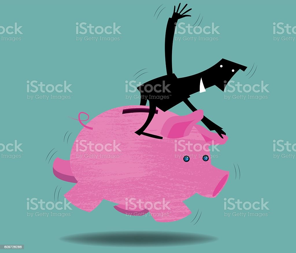 Rodeo on a piggy bank vector art illustration