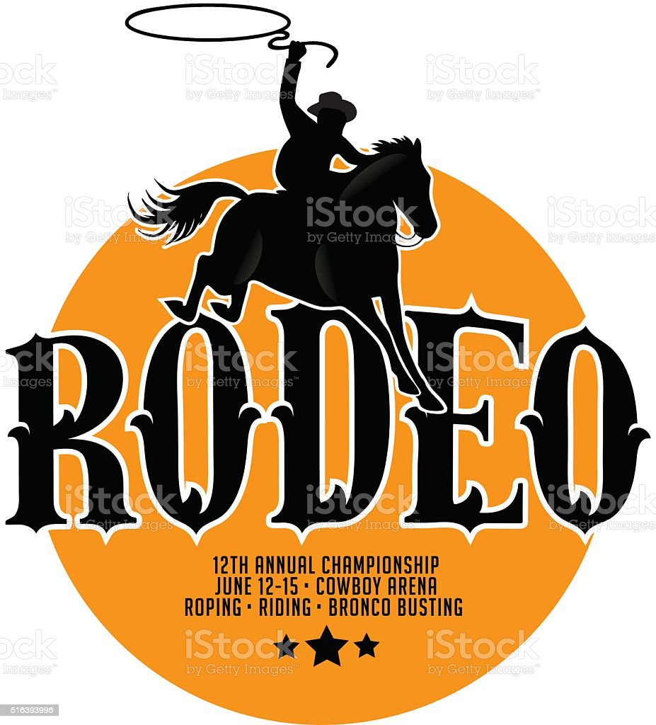 Rodeo poster design with copy space. vector art illustration