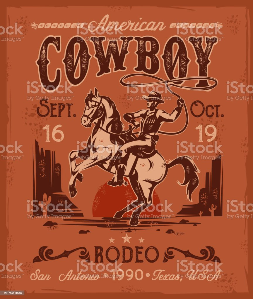 Rodeo poster with a cowboy sitting on  rearing horse in vector art illustration