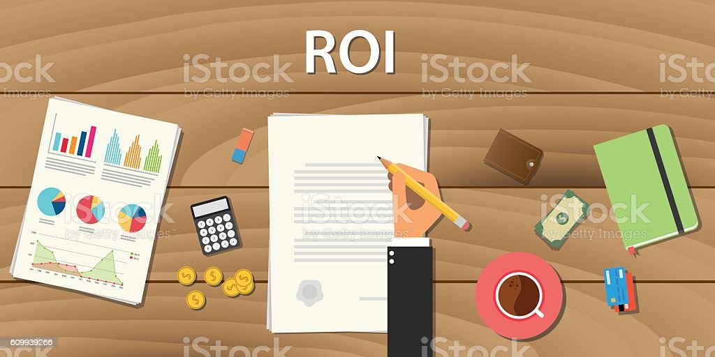 roi return on investment concept with hand work  some paper vector art illustration