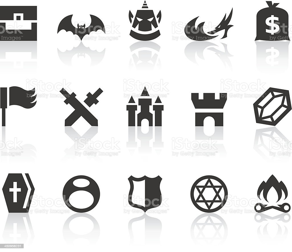 Role Playing Games IV Icons | Simple Black Series royalty-free stock vector art