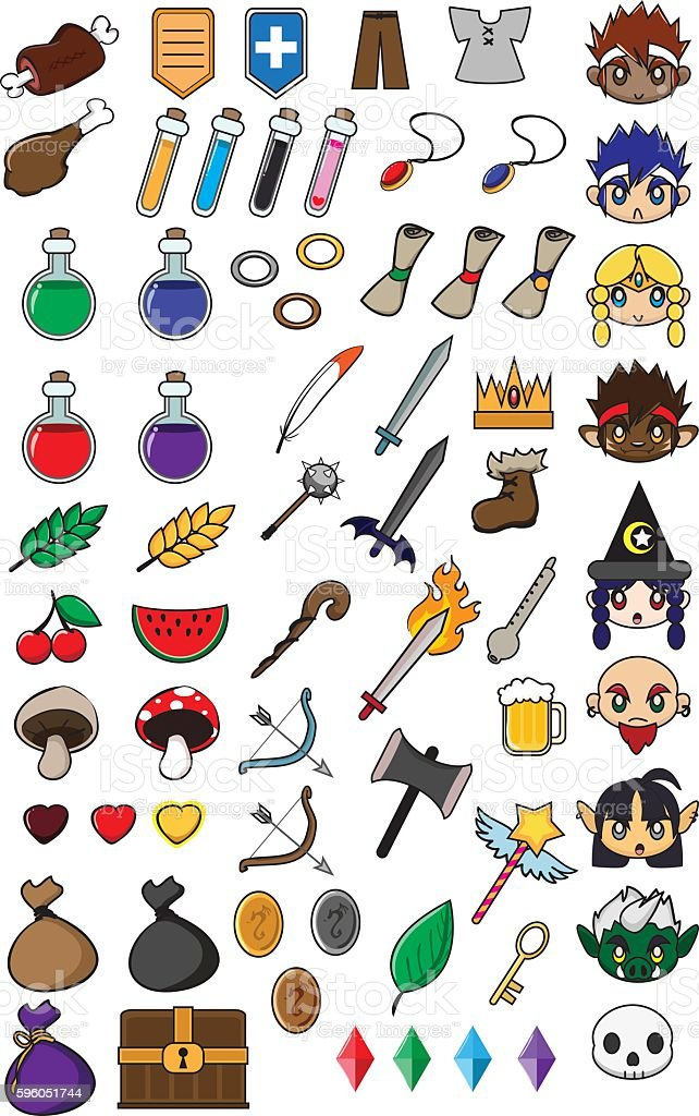 Role-playing game Items vector art illustration