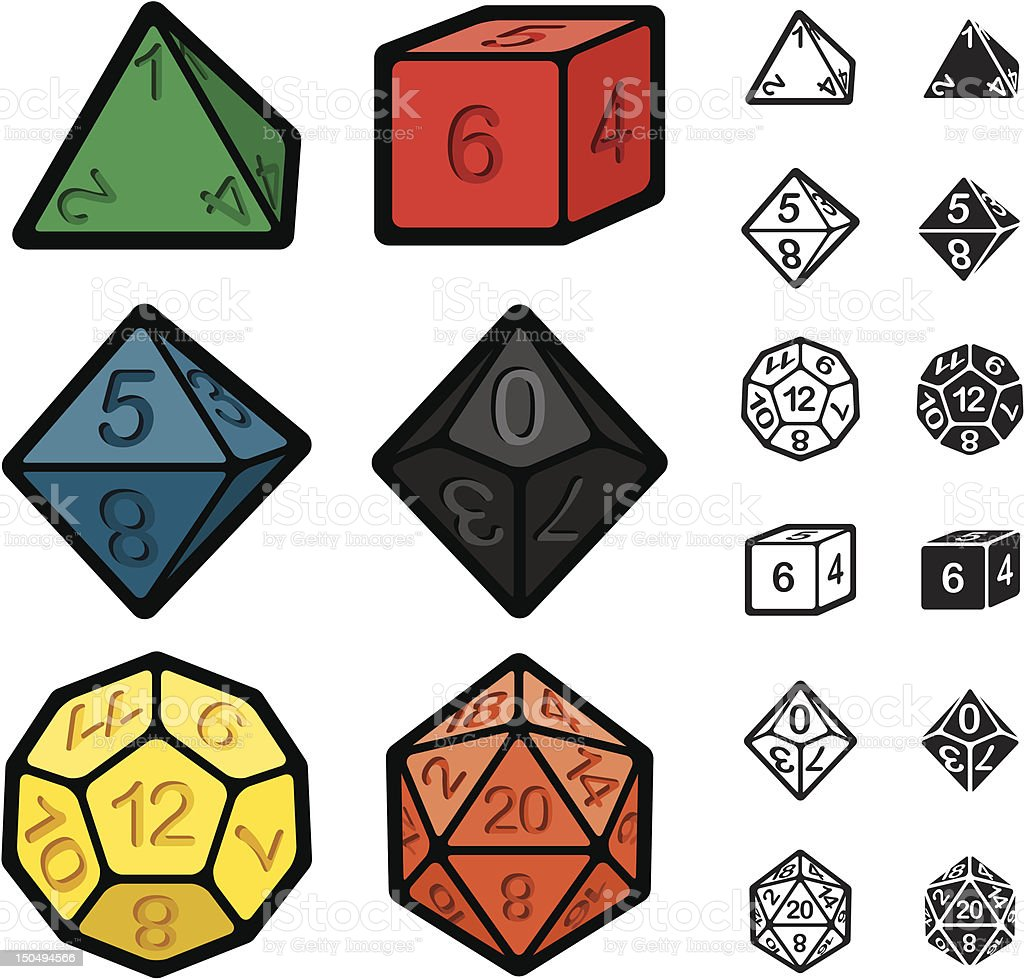 Roleplaying Games Polyhedral Dice Set vector art illustration