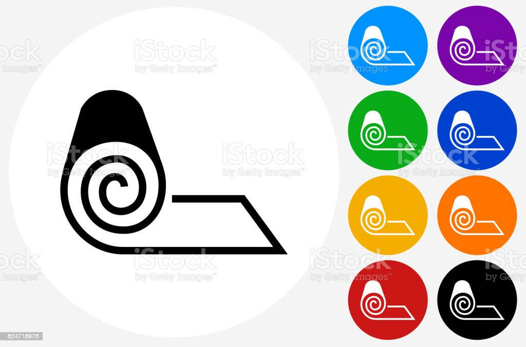 Roll of Fabric Icon on Flat Color Circle Buttons vector art illustration
