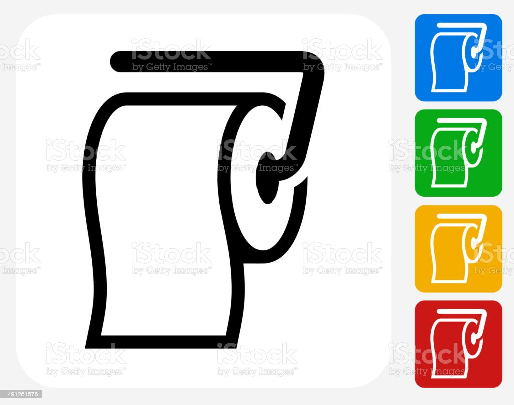 Roll of Toilet Paper Icon Flat Graphic Design vector art illustration