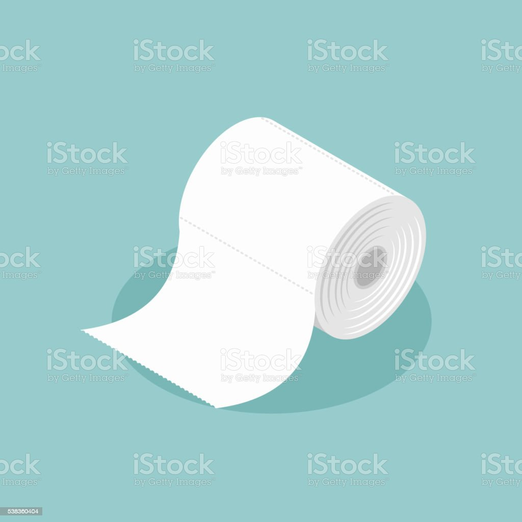 Roll of toilet paper isometrics. Special paper for wiping. paper vector art illustration