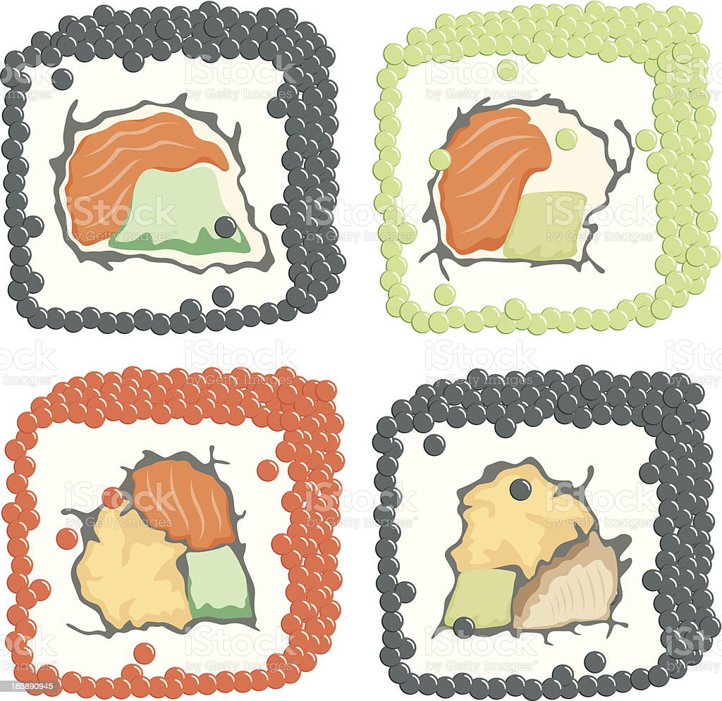 roll sushi  set vector art illustration