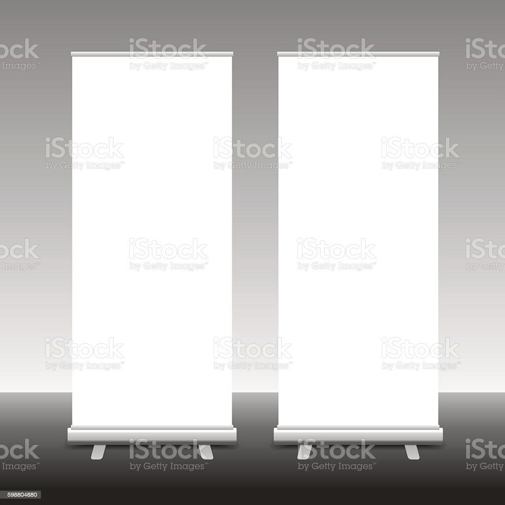Roll Up Banner Stand, 3D, vector illustration vector art illustration
