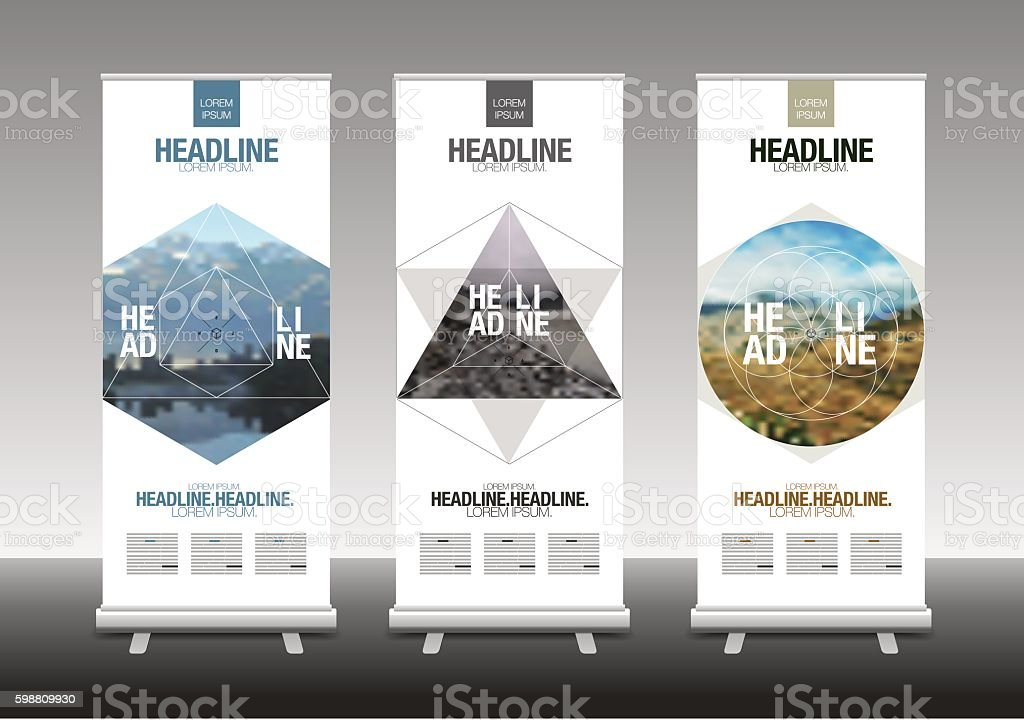 Roll Up Banner Stand Design with Abstract Geometric, vector illustration vector art illustration