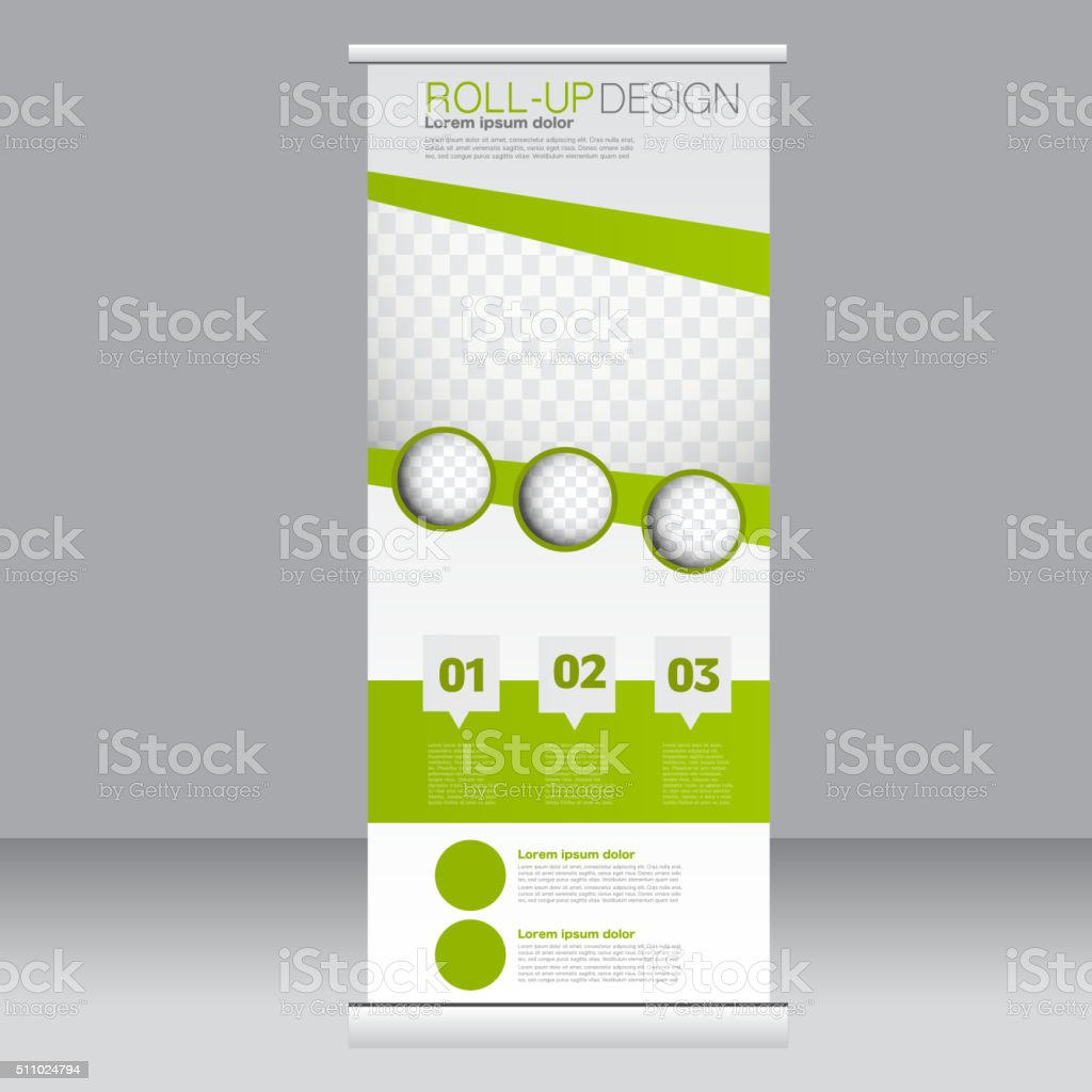Roll up banner stand template. Abstract background vector art illustration