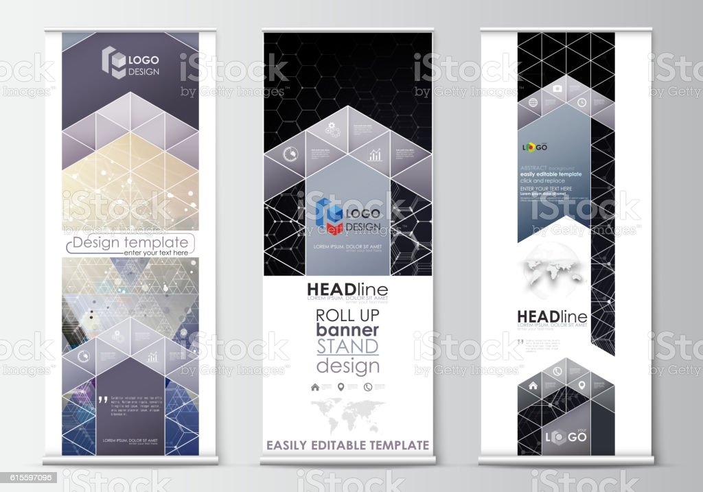 Roll up banner stands, abstract geometric style templates, corporate vertical vector art illustration