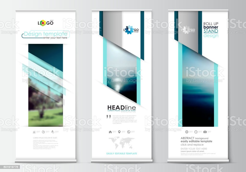 Roll up banner stands, flat design, abstract geometric templates, modern vector art illustration