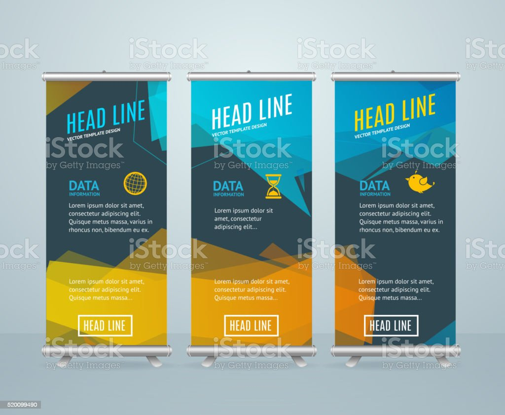 Roll Up Banner with Bubble Speech. Vector vector art illustration