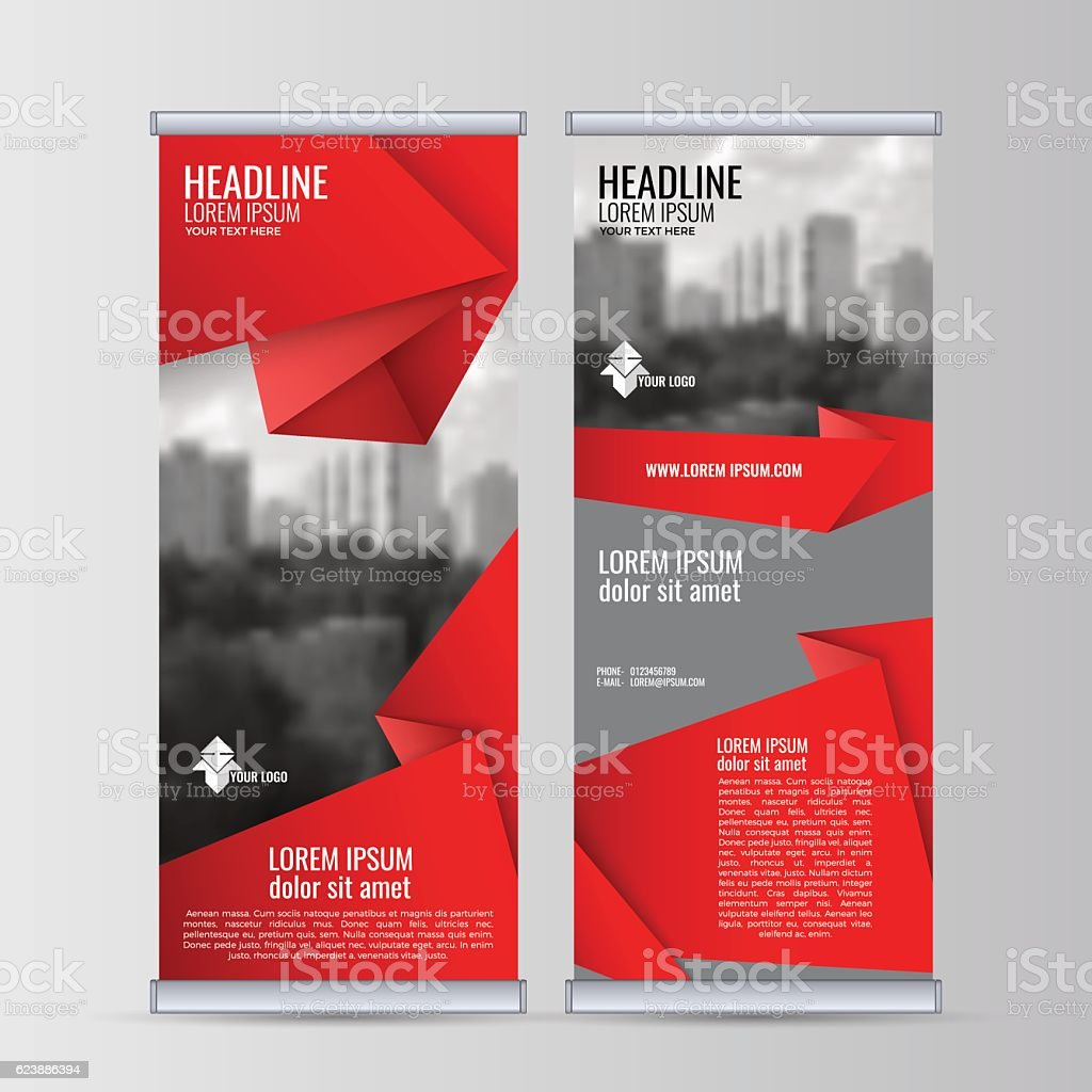 Roll up business banner design vertical template vector. vector art illustration
