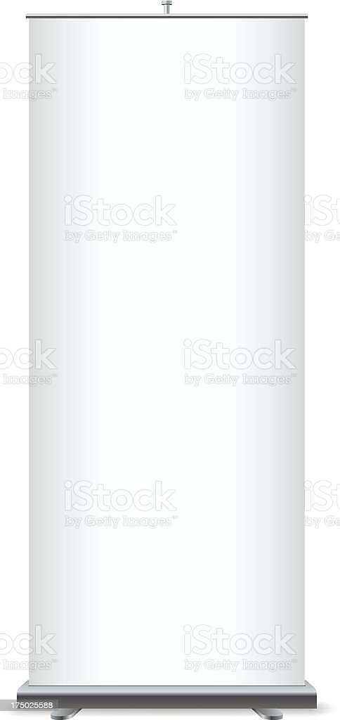 Roll up empty plain white banner vector art illustration