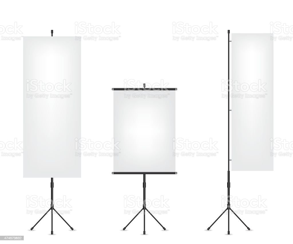Roll up flag banner and projection screen vector art illustration