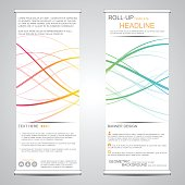 Roll up, vertical banner for presentation and publication. Abstract background.