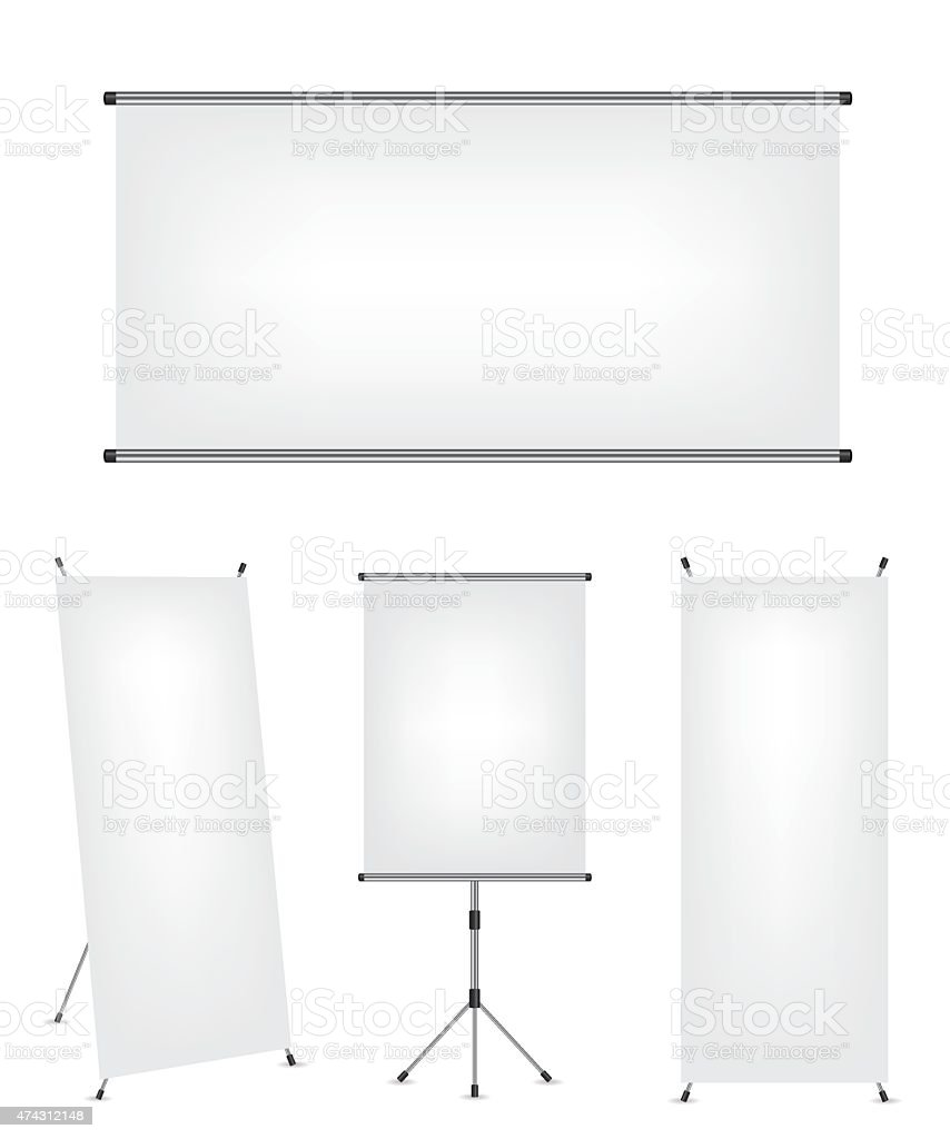 Roll up x-stand banner and projection screen vector art illustration