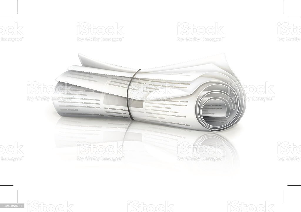 Rolled Newspaper vector art illustration