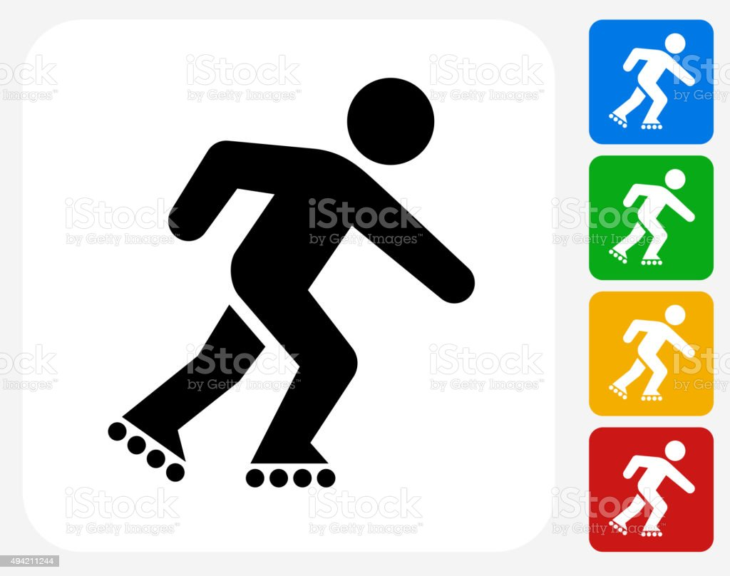 Roller Blading Icon Flat Graphic Design vector art illustration