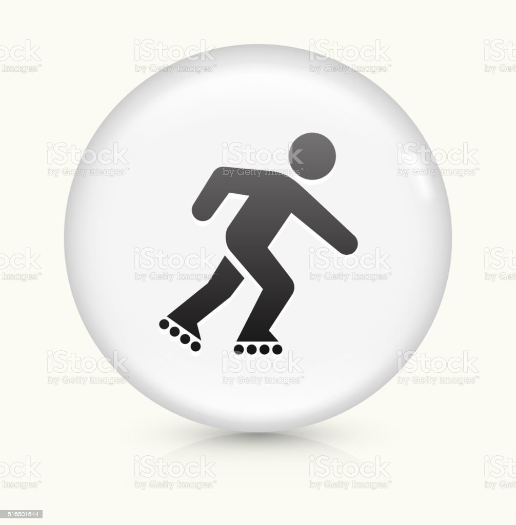 Roller Blading icon on white round vector button vector art illustration