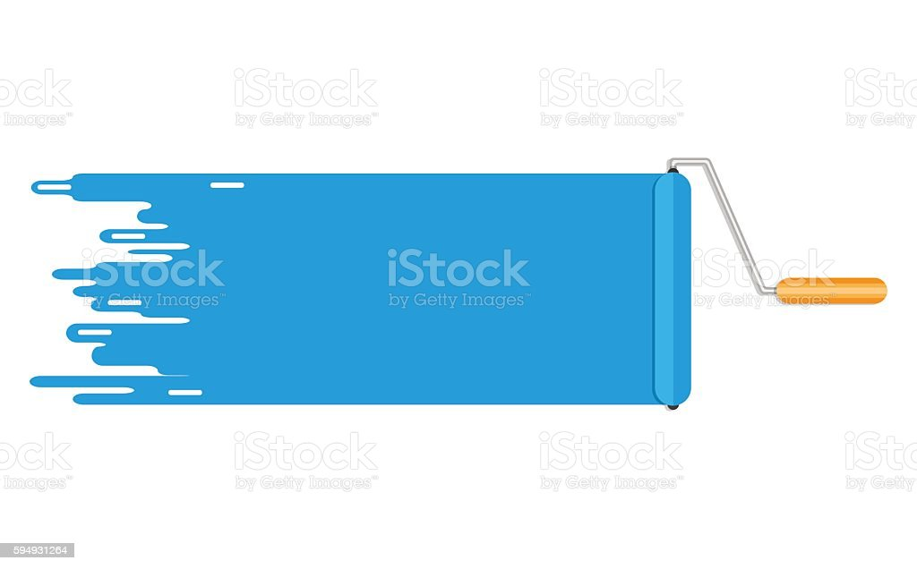 roller brush blue paint line. copyspace for text vector art illustration