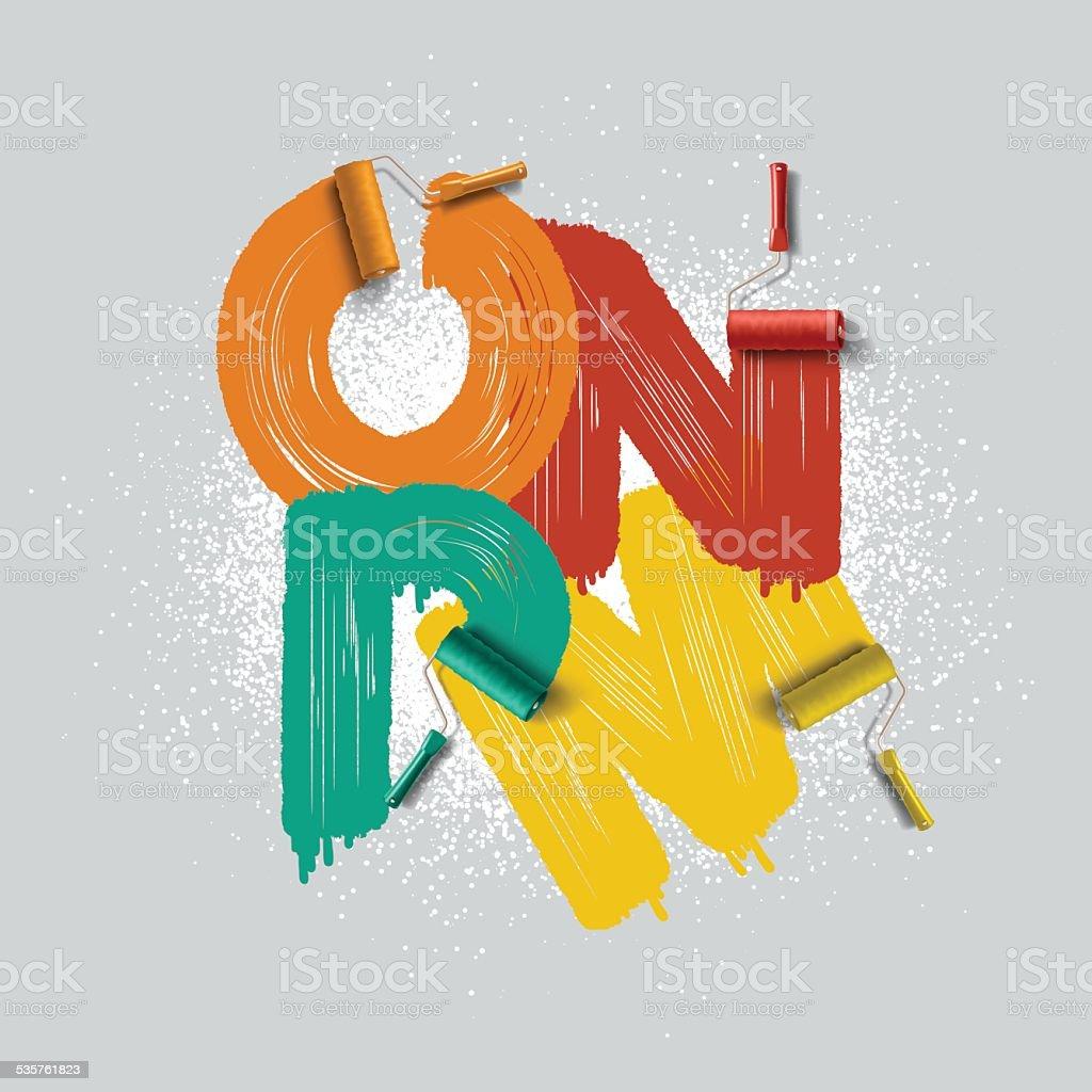 roller brush font vector art illustration
