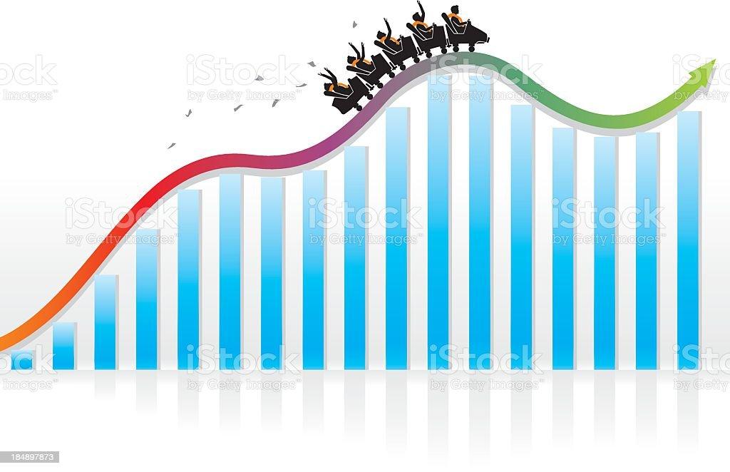 Roller coaster economy moving upwards illustration vector art illustration
