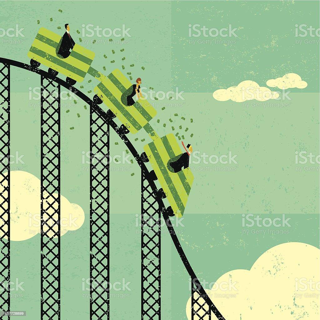Roller coaster economy vector art illustration